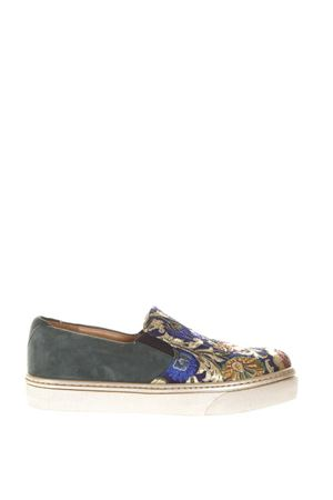 BROCADE & SUEDE SLIP-ON SNEAKERS FW 2017 CORAL BLUE | 55 | CB.K317.04SLIP ON BAROQUE BLUE