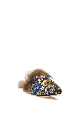 BROCADE SLIPPERS WITH FUR FW 2017 CORAL BLUE | 110000060 | CB.K317.16MULE BAROQUEELECTRIC BLUE