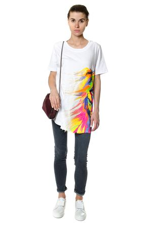 MULTICOLORED PRINT COTTON T-SHIRT FW 2017 DONDUP | 15 | S653JF049DN23SUNBURY000