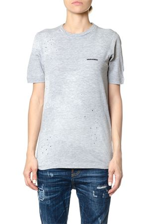 DISTRESSED COTTON LOGOED T-SHIRT DSQUARED2 | 15 | S75GC0861S22146857M