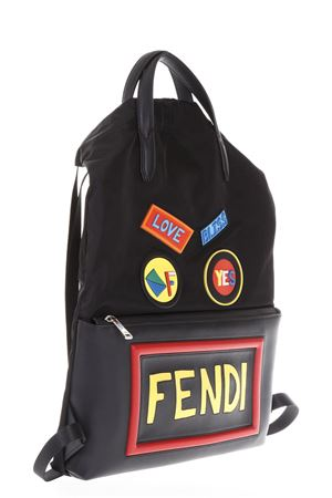 ZAINO IN NYLON E PELLE CON PATCH FENDI FACES AI 2017 FENDI | 183 | 7VZ0341OQF0JBX
