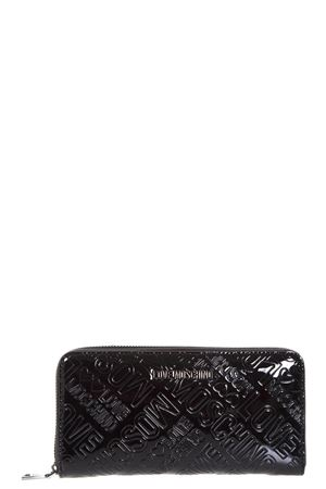 LOGOED BLACK PATENT CONTINENTAL WALLET FW 2017 LOVE MOSCHINO | 34 | JC5549PP04UNI000