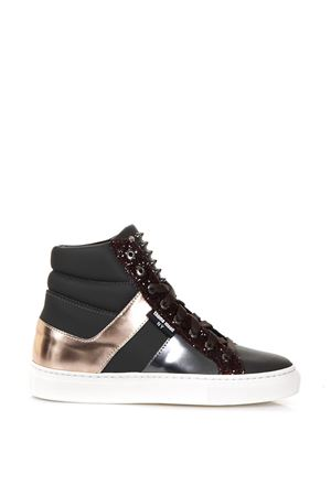 LEATHER HIGH-TOP SNEAKERS WITH GLITTER FW 2017 THoMS NICOLL | 55 | 432VARIANTED