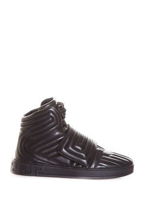 QUILTED GREEK KEY HIGH-TOP SNEAKERS FW 2017 VERSACE | 55 | DSU6171DNAXGD41