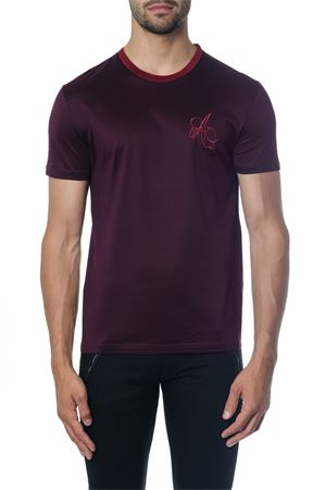 BURGUNDI COTTON T-SHIRT WITH LOGO AI 2018 ALEXANDER McQUEEN | 15 | 520266QLX015040