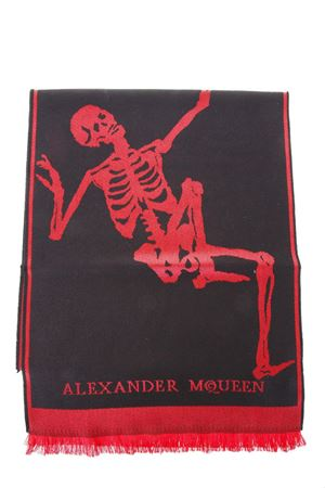 BLACK & RED WOOL SCARF WITH LOGO FW 2018 ALEXANDER McQUEEN | 20 | 5220514200Q1074