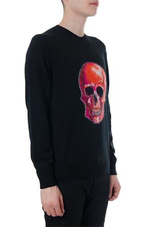 BLACK WOOL JUMPER WITH SKULL GRAPHIC FW 2018 ALEXANDER McQUEEN | 16 | 534384Q1WSB1090