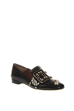 JANELLE EMBELLISHED BLACK LEATHER SNEAKERS