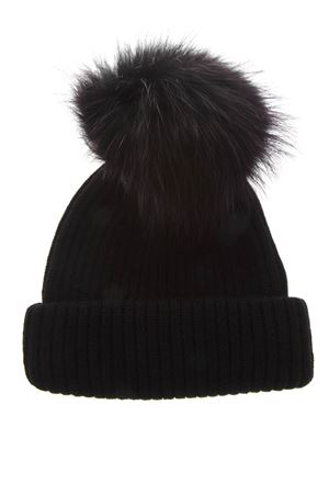BLACK MERINO WOOL HAT FW 2018 BKLYN | 17 | BLACK HATBLACK PURPLE POM1