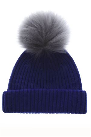 BLUE AND GREY MERINO WOOL HAT FW 2018 BKLYN | 17 | ELEC BLUE HATGREY BLUE POM1