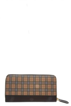 CHECKED LEATHER CONTINENTAL WALLET