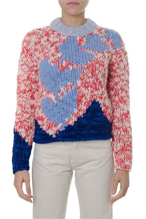 CHUNKY KNIT MULTICOLOR WOOL BLEND SWEATER FW 2018 BURBERRY | 16 | 80018341BRIGHT RED