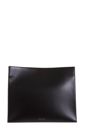 BLACK YOUG TONE ON TONE SHOULDER STRAP BAG IN LEATHER 