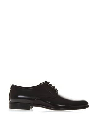 BLACK GLOSSY LEATHER LACE-UP SHOES FW 2018 DOLCE & GABBANA | 208 | A10306AC46080999
