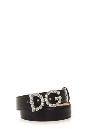 BLACK LEATHER BELT WITH CRYSTALS LOGO FW 2018/2019 DOLCE & GABBANA | 12 | BE1311AU32580999