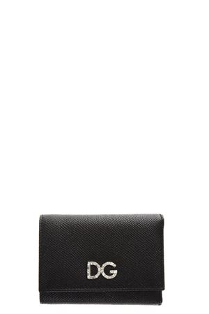 BLACK LEATHER WALLET WITH LOGO IN DIAMONDS FW 2018/2019 DOLCE & GABBANA | 34 | BI0770AU77180999
