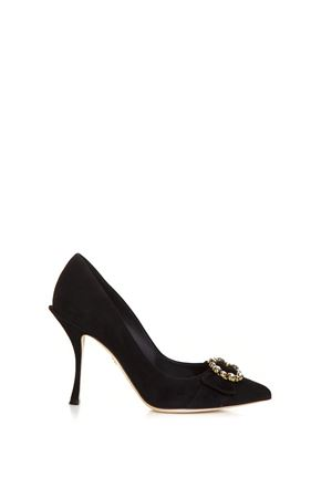 LORI EMBELLISHED BLACK SUEDE PUMPS FW 2018 DOLCE & GABBANA | 68 | CD1072A127580999