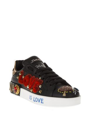 LOVE BLACK LEATHER SNEAKERS FW 2018 DOLCE & GABBANA | 55 | CK1544AV266HNT77