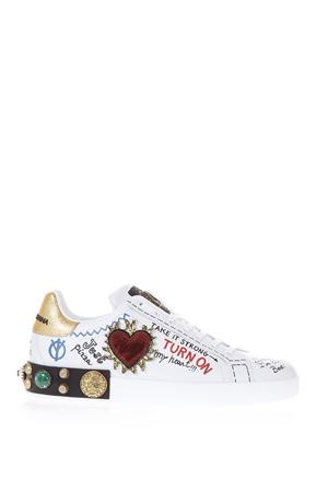WHITE LEATHER PORTOFINO SNEAKERS FW 2018/2019 DOLCE & GABBANA | 55 | CS1539AH0298I049