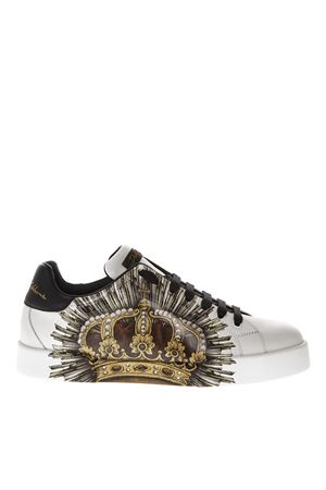 SACRED HEART PRINT WHITE SNEAKERS IN LEATHER FW 2018 DOLCE & GABBANA | 55 | CS1558AN108HWL66