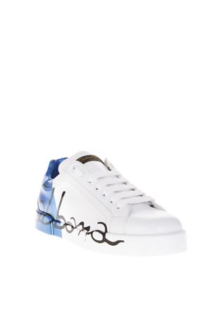 LOW-TOP LEATHER BLUE/WHITE SNEAKERS FW 2018 DOLCE & GABBANA | 55 | CS1600AU7768P021