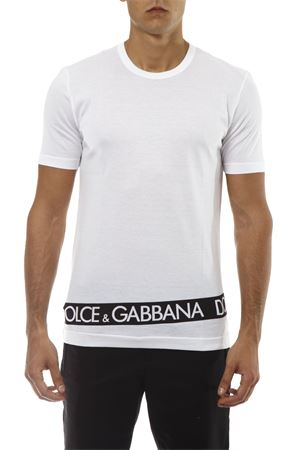 T-SHIRT IN COTONE BIANCO CON LOGO TAPE AI 2018 DOLCE & GABBANA | 15 | G8HL0TFH72OHWT37