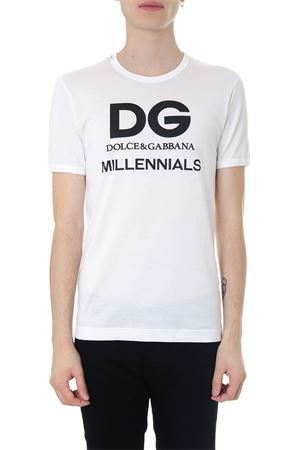 T-SHIRT IN COTONE BIANCO DG MILLENIALS AI 2018 DOLCE & GABBANA | 15 | G8IV0TG7OXHW0800