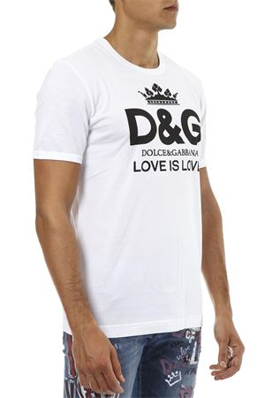 T-SHIRT IN COTONE BIANCO CON STAMPA AI 2018 DOLCE & GABBANA | 15 | G8IVOTG7QESW0800