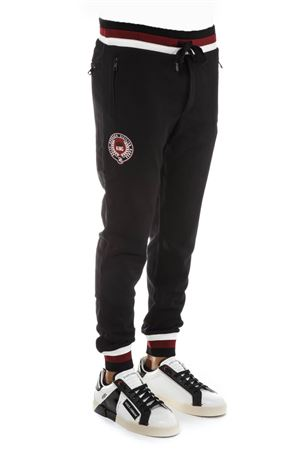 BLACKCOTTON JOGGING PANTS WITH PATCHES FW 2018 DOLCE & GABBANA | 8 | GY9GATHU7ALN0000