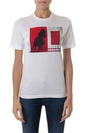 WHITE & RED COTTON T-SHIRT WITH HORSE PRINT FW 2018 DSQUARED2 | 15 | S72GD0096S22844100