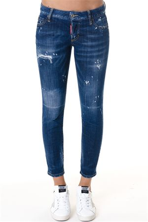 JEANS SKINNY FIT IN DENIM DI COTONE BLU AI 2018 DSQUARED2 | 4 | S72LB0117S30342470