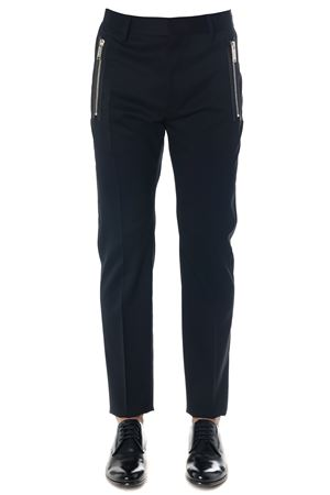 BLACK MACRO ZIPPED PANTS IN COTTON FW 2018  DSQUARED2 | 8 | S74KB0203S42916900