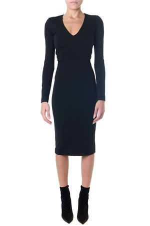 BLACK FITTED SILHOETTE MIDI DRESS
