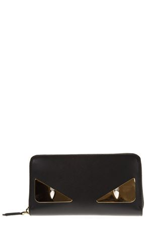 BUGS BLACK BRASS & LEATHER WALLET FW 2018 FENDI | 34 | 8M02993IFF0KUR