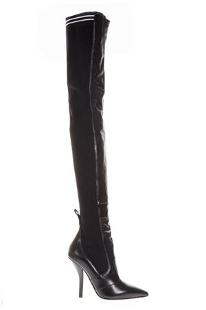 BLACK LEATHER & KNIT OVER THE KNEE BOOTS FW 2018 FENDI | 52 | 8W6620A02FF07LV