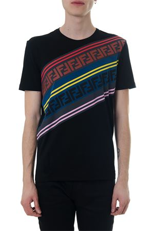 BLACK T-SHIRT WITH MULTICOLOURED F PATTERN FW 2018 FENDI | 15 | FAF532A553F0GME