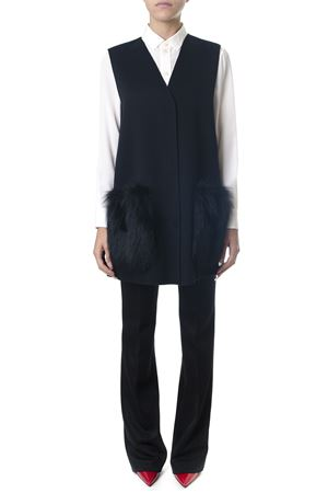 BLACK VIRGIN WOOL WAISTCOAT WITH FUR FW 2018 FENDI | 31 | FF8523W1DF0ZNJ