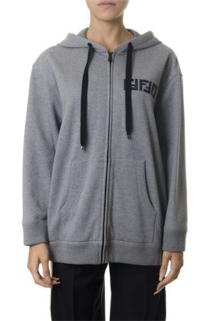 EMBELLISHED GREY COTTON HOODIE WITH LOGO FENDI FW 2018 FENDI | 19 | FS7031A43CF0TAZ