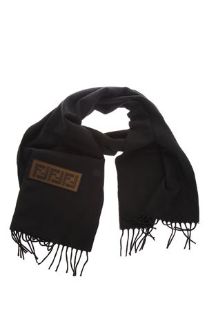 BLACK WOOL FRINGED SCARF WITH LOGO FW 2018 FENDI | 20 | FXS124A45DF0QA1