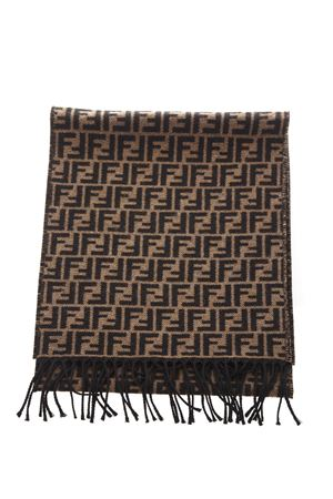 BLACK AND BROWN PURE WOOL SCARF WITH MONOGRAM FW 2018 FENDI | 20 | FXS366A4Z4F0QE1