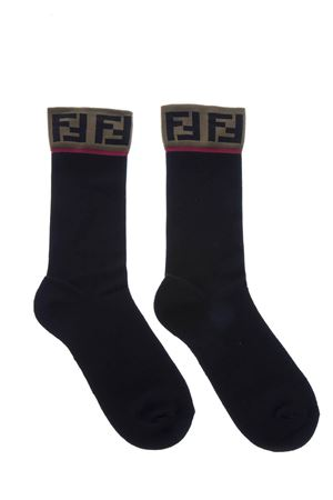 LOGOED BLACK STRETCH COTTON SOCKS FW 2018 FENDI | 5 | FXZ035A4ZPF0QA1