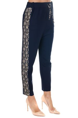 NAVY BLUE EMBROIDERY CROPPED TROUSERS FW 2018 FRANKIE MORELLO | 8 | FWCF8036PAUNIB01
