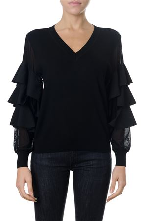 BLACK SYNTHETIC RUFFLED BLOUSE FW 2018 FRANKIE MORELLO | 16 | FWCF8110FWUNIN01