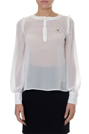 WHITE SHEER FABRIC BLOUSE FW 2018 FRANKIE MORELLO | 9 | FWCF8188CADEENAW02
