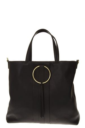 BLACK LEATHER TOTE BAG WITH METAL RING FW 2018 GIANNI CHIARINI | 2 | BS6323NUV001