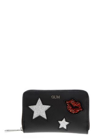 BLACK WALLET WITH GLITTERED DECORATIONS APPLIED FW 2018 GIANNI CHIARINI | 34 | PF01GUM STREET1611