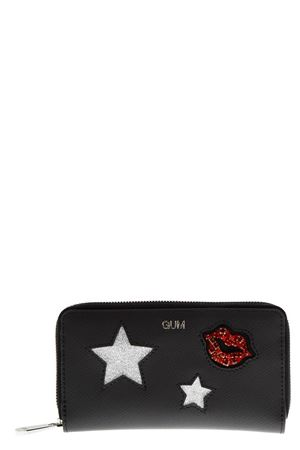 BLACK WALLET WITH GLITTERED DECORATIONS APPLIED FW 2018 GIANNI CHIARINI | 34 | PF02GUM STREET1611