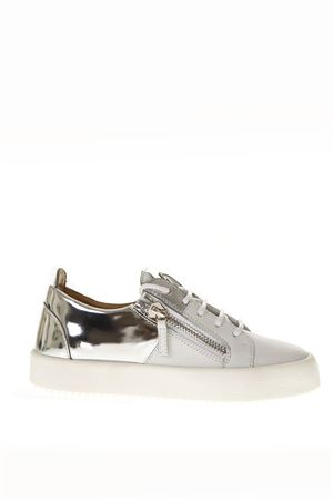 WHITE/SILVER LEATHER SNEAKERS FW 2018 GIUSEPPE ZANOTTI | 55 | RS80053LOGOBALL003