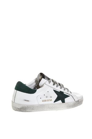 WHITE SUPERSTAR SNEAKERS IN LEATHER WITH GREEN DETAILS FW 2018 GOLDEN GOOSE DELUXE BRAND | 55 | G33MS5901L24