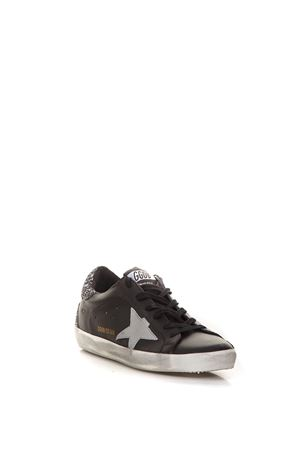 SNEAKERS SUPERSTAR NERA IN PELLE CON GLITTER IN ARGENTO AI 2018 GOLDEN GOOSE DELUXE BRAND | 55 | G33WS5901H67
